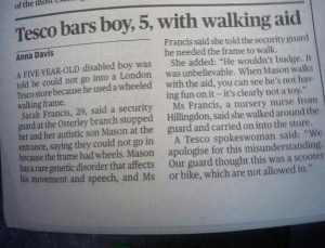 Tesco bars boy with walking aid