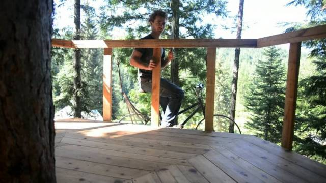 Ethan e sits on the saddle and pedals - and a system of weights and pulleys does the rest (Picture: SWNS)